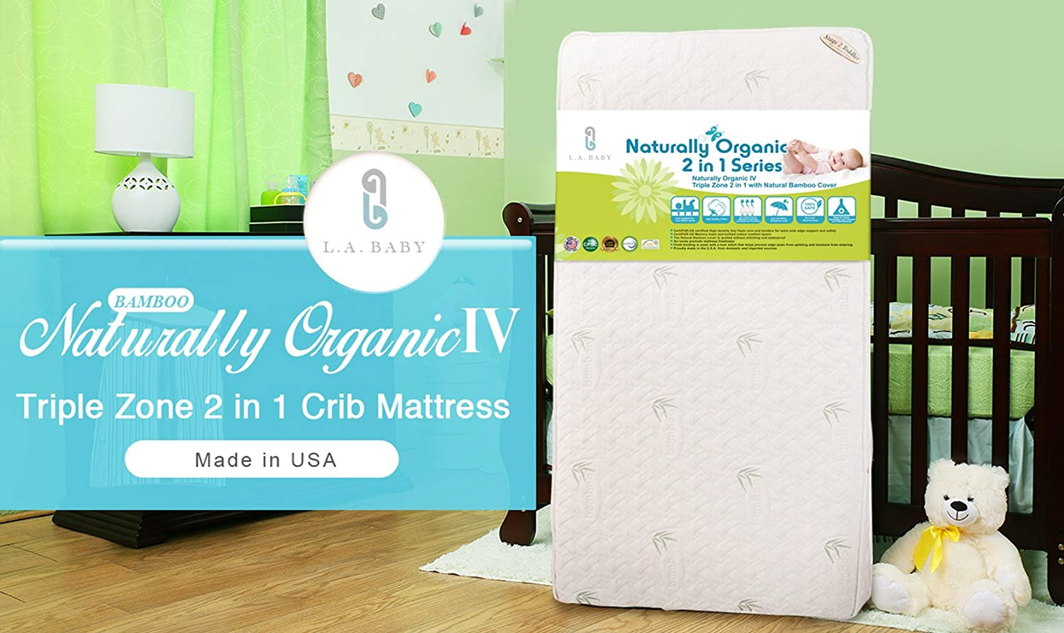 Baby crib mattress amazon - Amazon Com La Baby Natural Iv Triple Zone 2 In 1 Soy Foam Crib Mattress With Blended Visco Bamboo Quilted Cover Crib Mattresses Baby