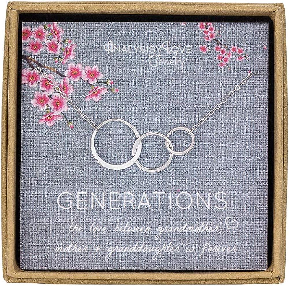 Collar 3 Generations de plata de ley con 3 círculos que representan abuela, mamá, nieta