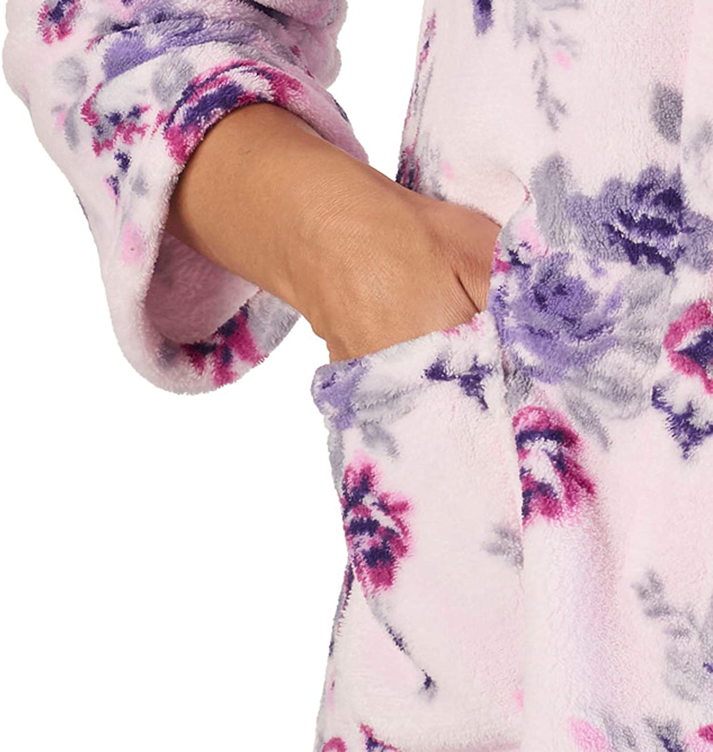 Small - XXL Slenderella Ladies Floral Bed Jacket Soft Coral Fleece Button Up Housecoat