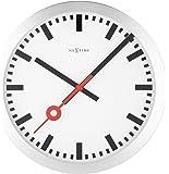 Nextime Station Wanduhr, Bahnhofsuhr ohne Ziffern, Uhr mit schleichendem Zeiger, Aluminium, Ø 35 cm, 3999
