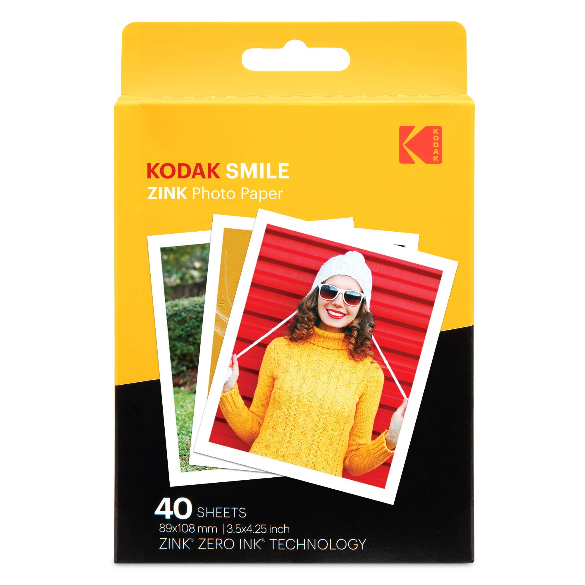 Kodak 3.5x4.25 inch Premium Zink Print Photo Paper (40 Sheets) Compatible with Kodak Smile Classic Instant Camera by KODAK
