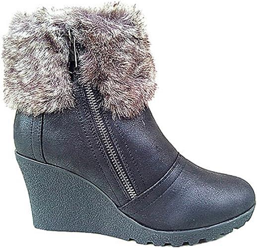 C035 Noir Femme fashionfolie Bottine Fourrure Court Fur Cheville Fourré Bottes Talon compensées Aq4R35jL