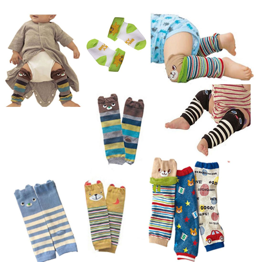 CMK Trendy Kids 6 Pairs Baby Leg Warmers Leggings Kneepads for Toddler Boys/&Girls Crawling Socks