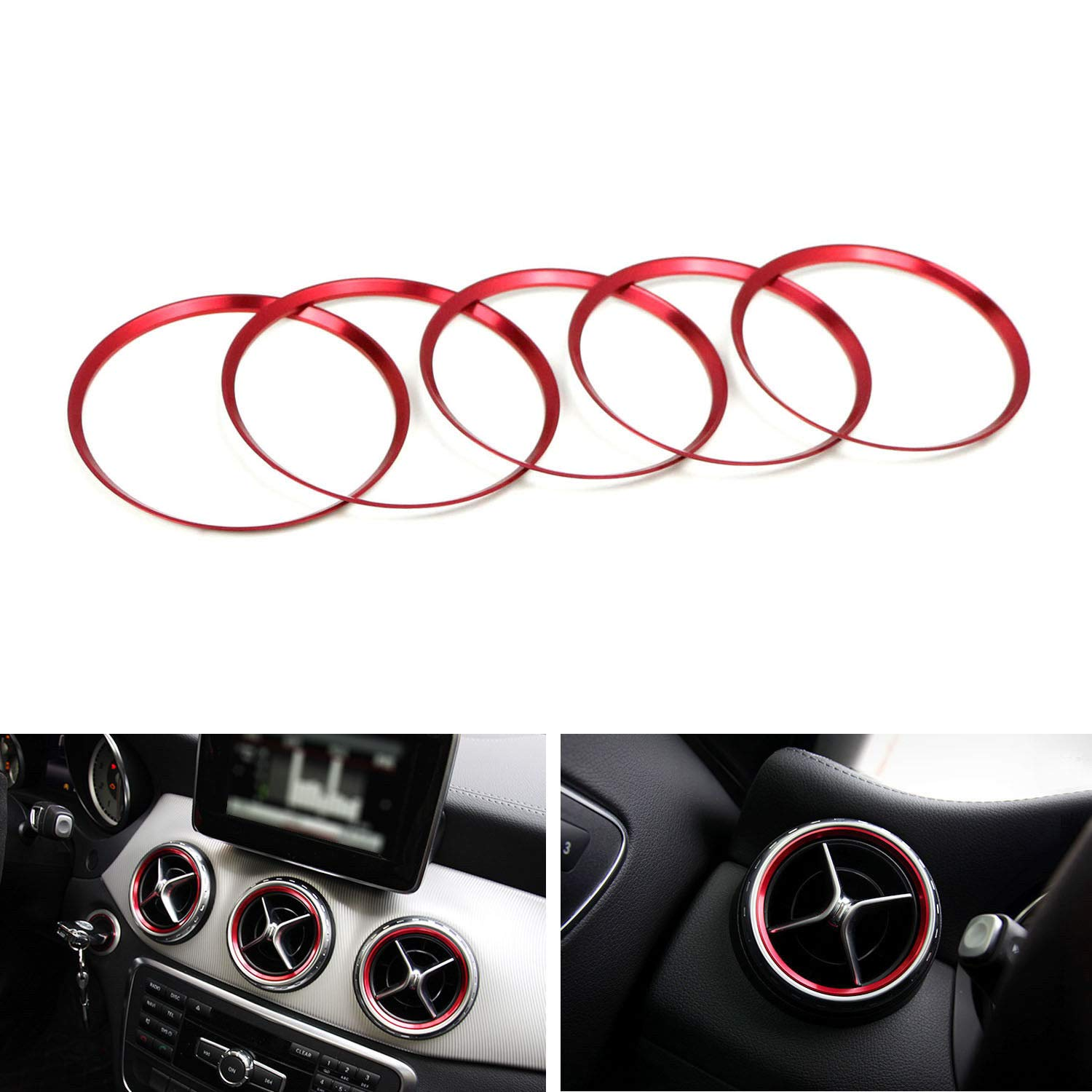 1 iJDMTOY Sports Red Aluminum Steering Wheel Center Decoration Cover Trim For 2015-up Mercedes C E CLA GLA GLC GLE Class