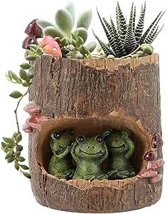 Segreto Creative Plants Pots Brush Pots Planter for Flower Sedum Succulent Plants Desk Garden Room Pot Decor,Mini Sweet Green Frog