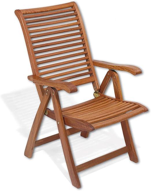 Sillón plegable de madera con reposabrazos Mod.Mimosa, silla Jardín reclinable de 5 COMODE posiciones, sillón plegable de madera keruing, silla de madera con reposabrazos uso externo: Amazon.es: Jardín