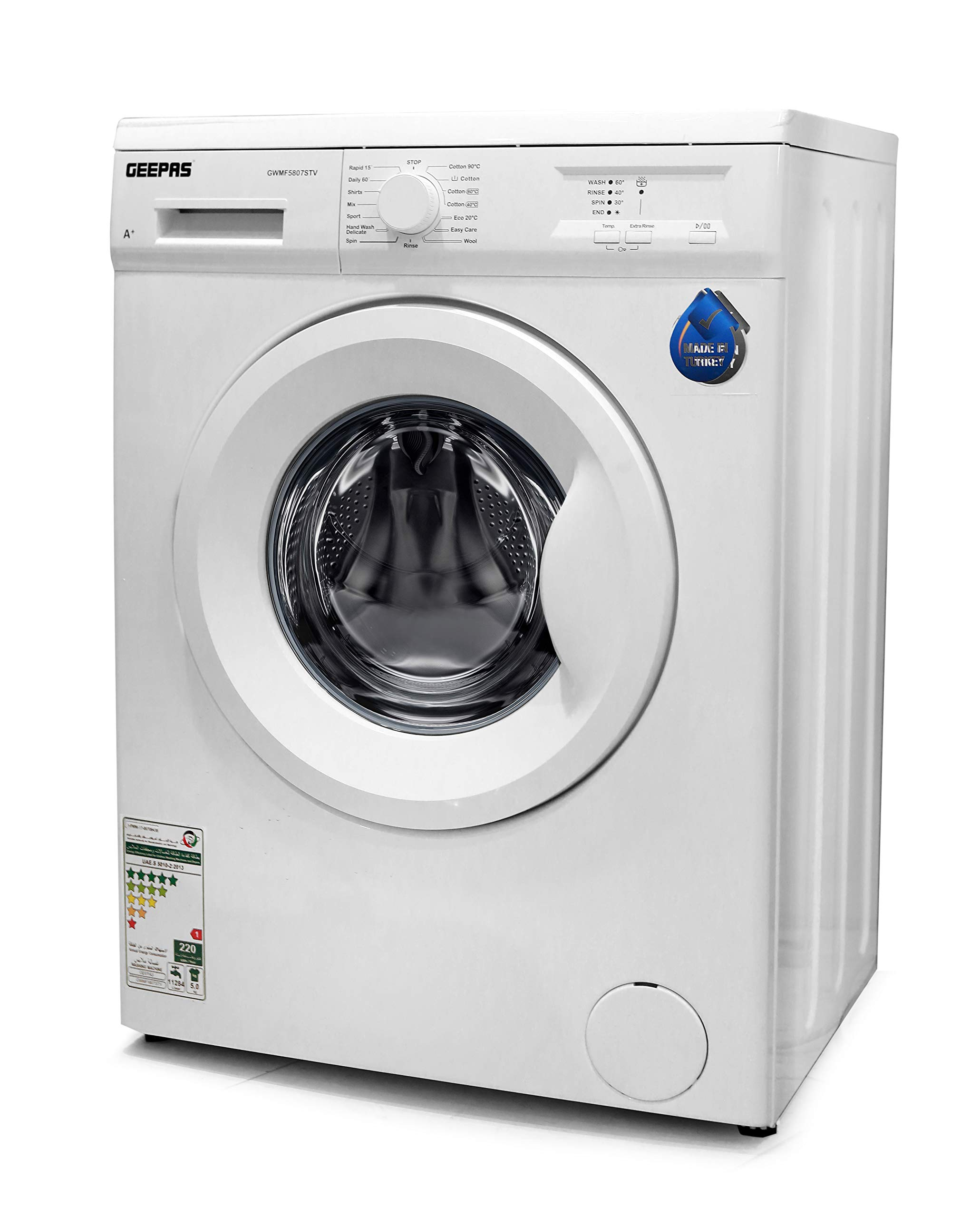 Geepas GWMF5807STV Fully Automatic Front Load Washing ...