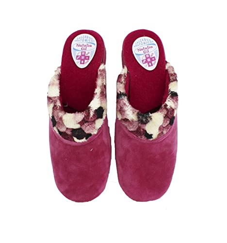Natalia - Zapatillas de Casa Mujer Cuello Pompones Fucsia - Rosa, 38: Amazon.es: Zapatos y complementos