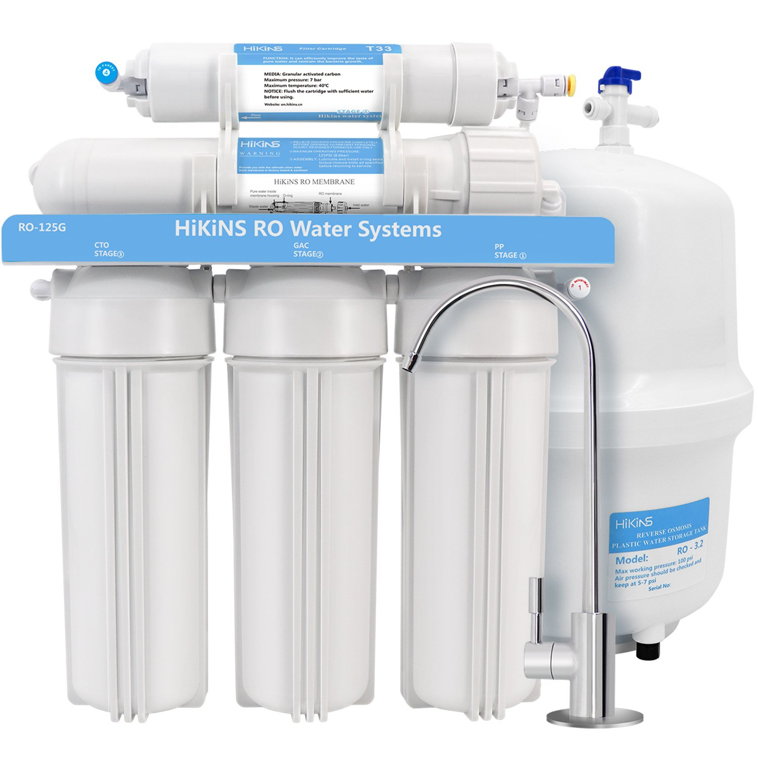 5e145665945 HiKiNS Reverse Osmosis Water Filtration System 125GPD 5-Stage Home Drinking RO  Water Filter System with Large Flow 125GPD Membrane and Efficiency of Water  ...