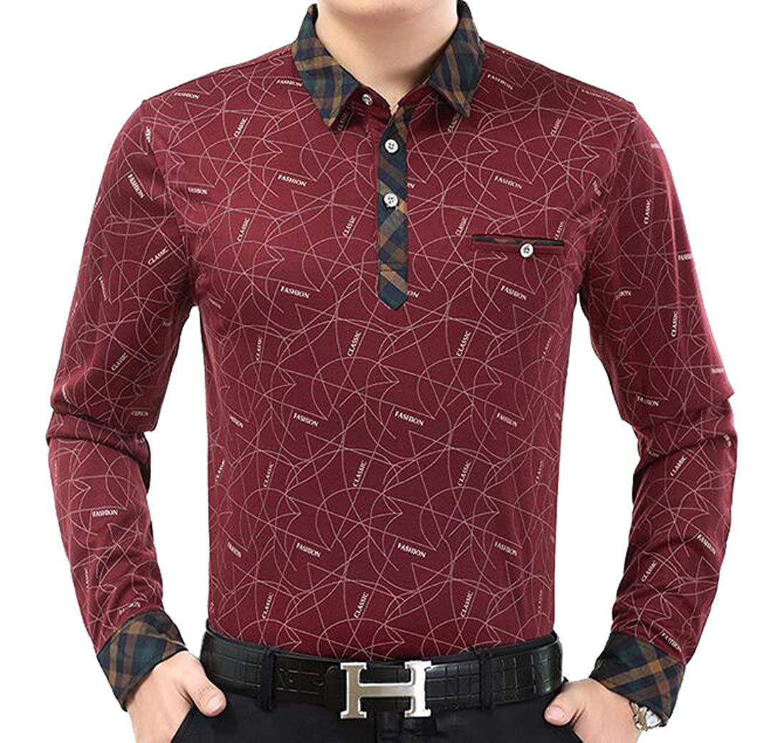 ARTFFEL-Men Fashion Long Sleeve Print Slim Fit Basic Polo Shirt Blouse Tops