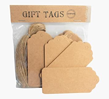 Pack of 50 gift tags brown scallop tag price luggage label with 50 pack of 50 gift tags brown scallop tag price luggage label with 50 brown strings negle Gallery