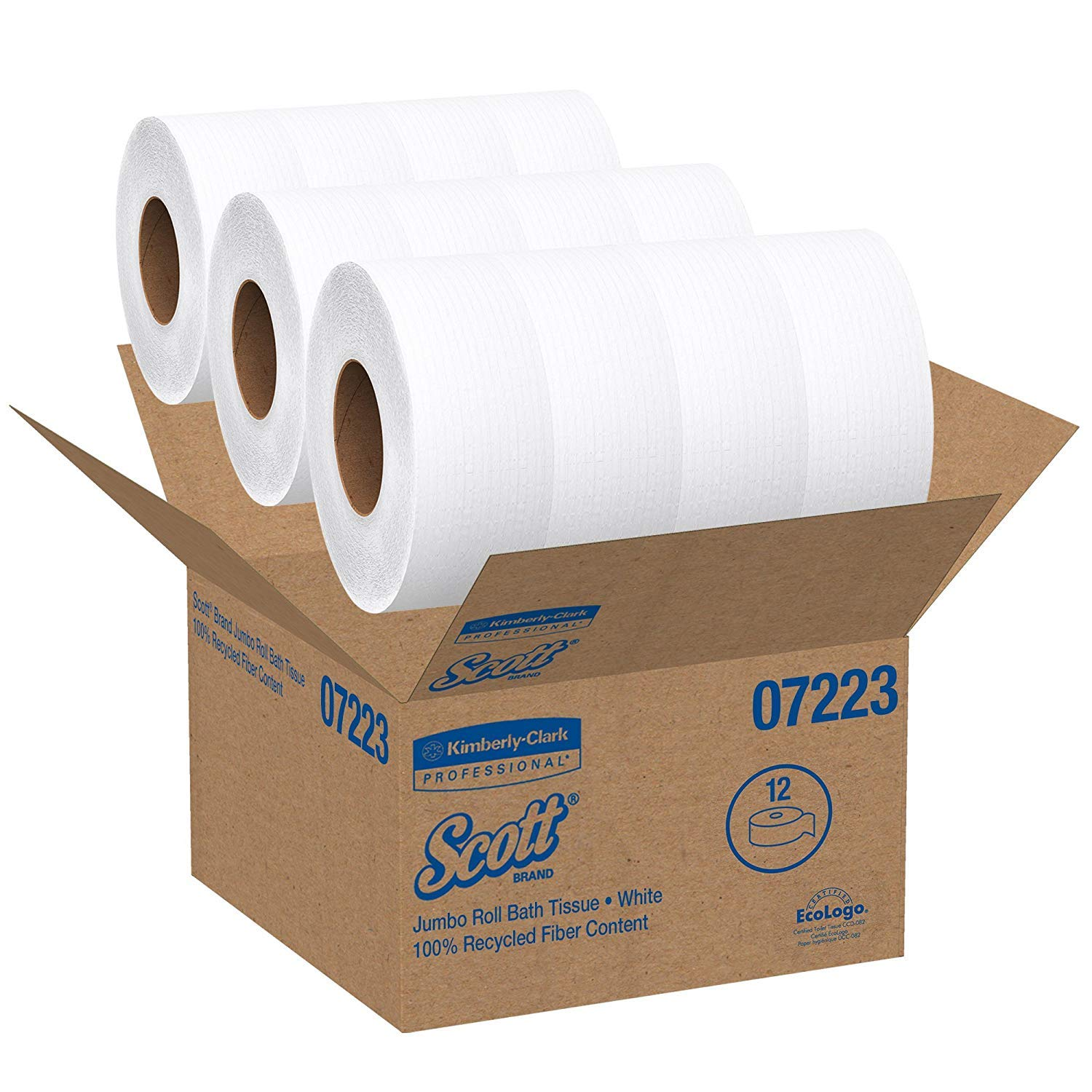 Kimberly-Clark ProfessionalA Scott Essential Jumbo Roll (JR) Commercial Toilet Paper (07223), 1-PLY, White, 12 Rolls/Case, 2,000' / Roll (4 Cases)