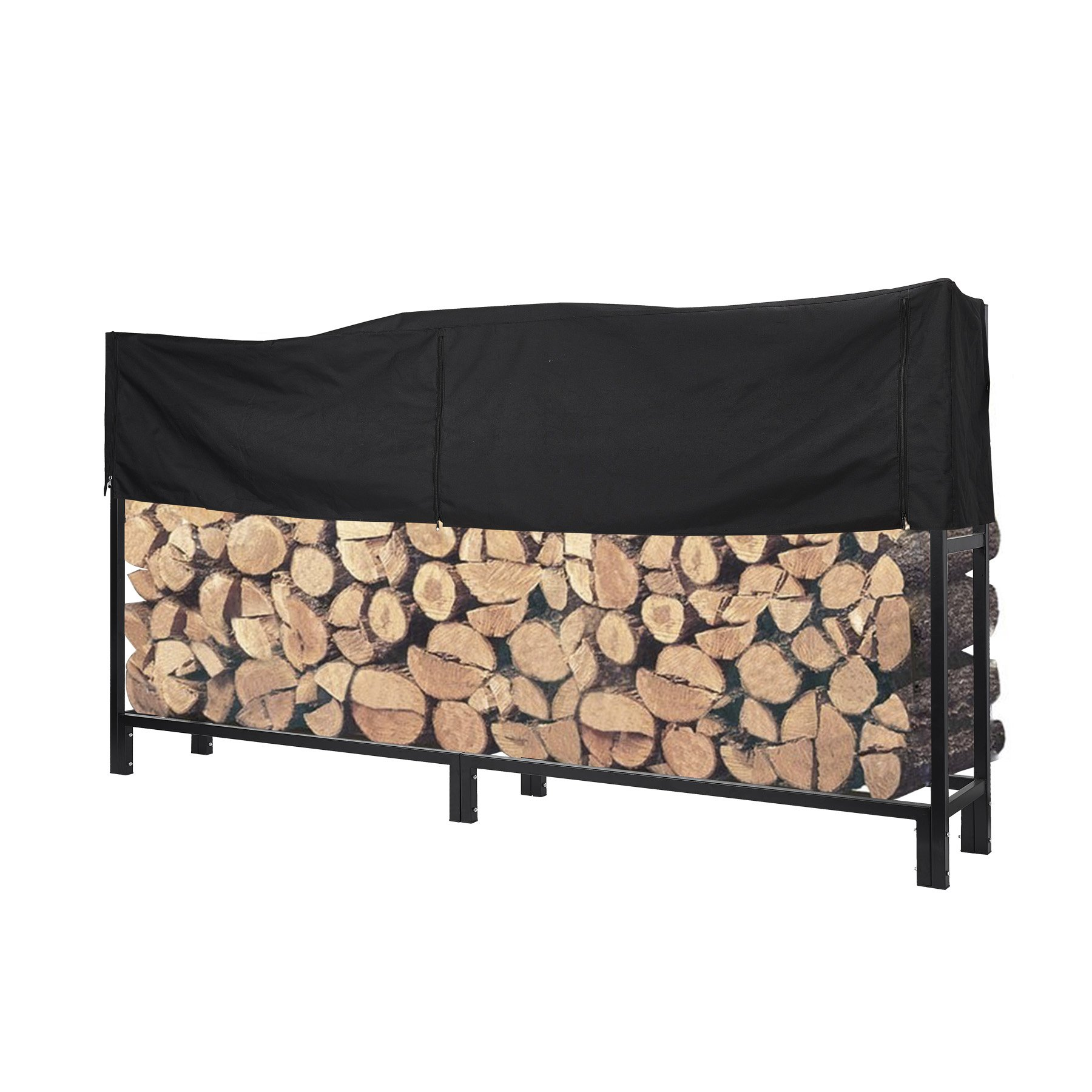 Pinty Ultra Duty Outdoor Firewood Log Rack with Cover Fireplace Wood Holder (8 Foot) by Pinty