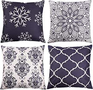 Mulle Throw Pillow Covers 18x18, Set of 4 Couch Decorative Pillow Covers, Farmhouse Outdoor Pillow Cushion Case for Bedroom Sofa Car