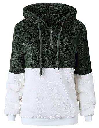 071b6f265aa Women Long Sleeve Fleece Pullover Hoodie 1 4 Zip Patchwork Sherpa Sweatshirt  Fuzzy Casual Tops