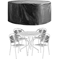 Patio Furniture Covers Outdoor Table Chair Set Covers Waterproof Heavy Duty Durable 60″ D x 28″ H Black