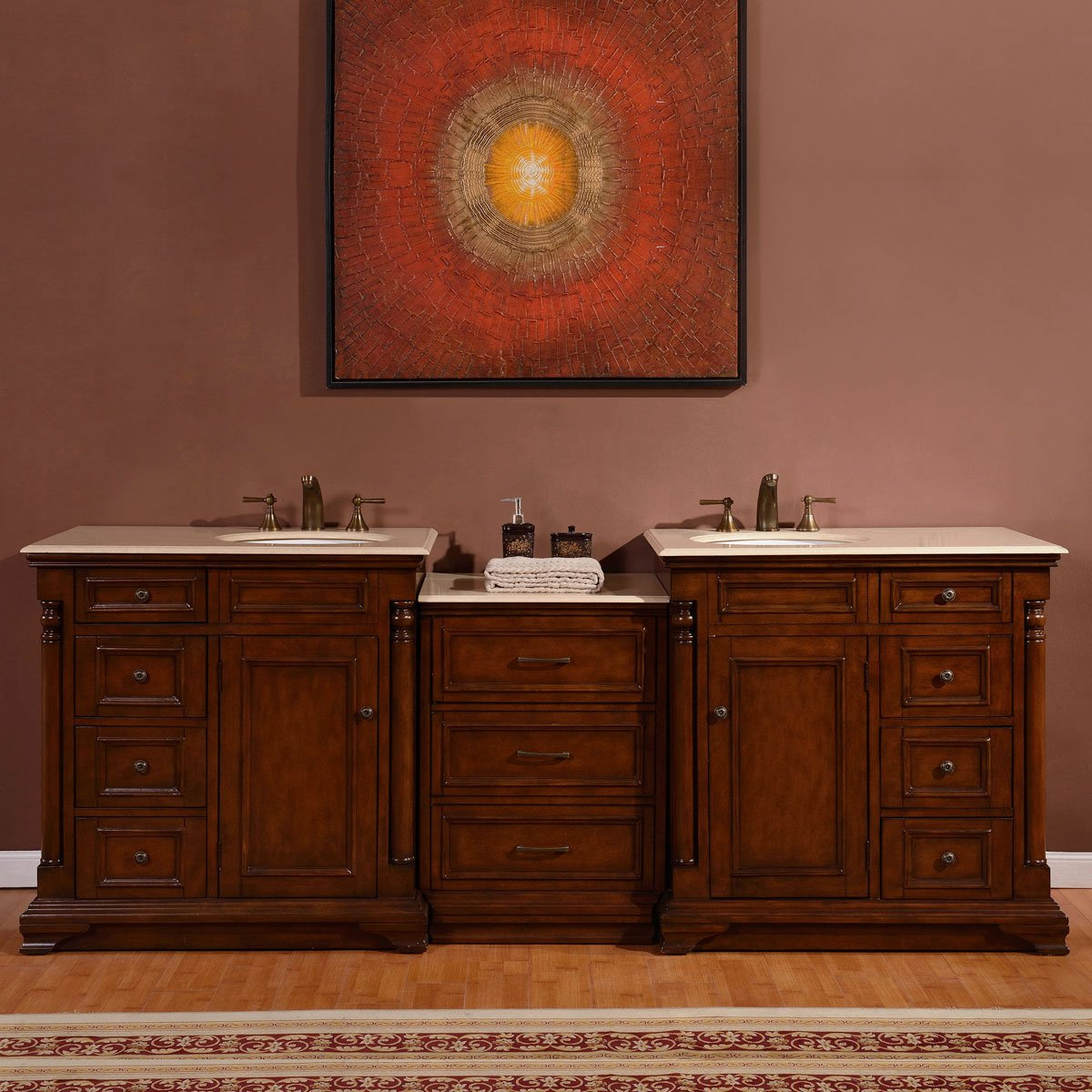 Silkroad Exclusive Marble Stone Top Dual Sink Bathroom Vanity with double Cabinet, 92.5-Inch