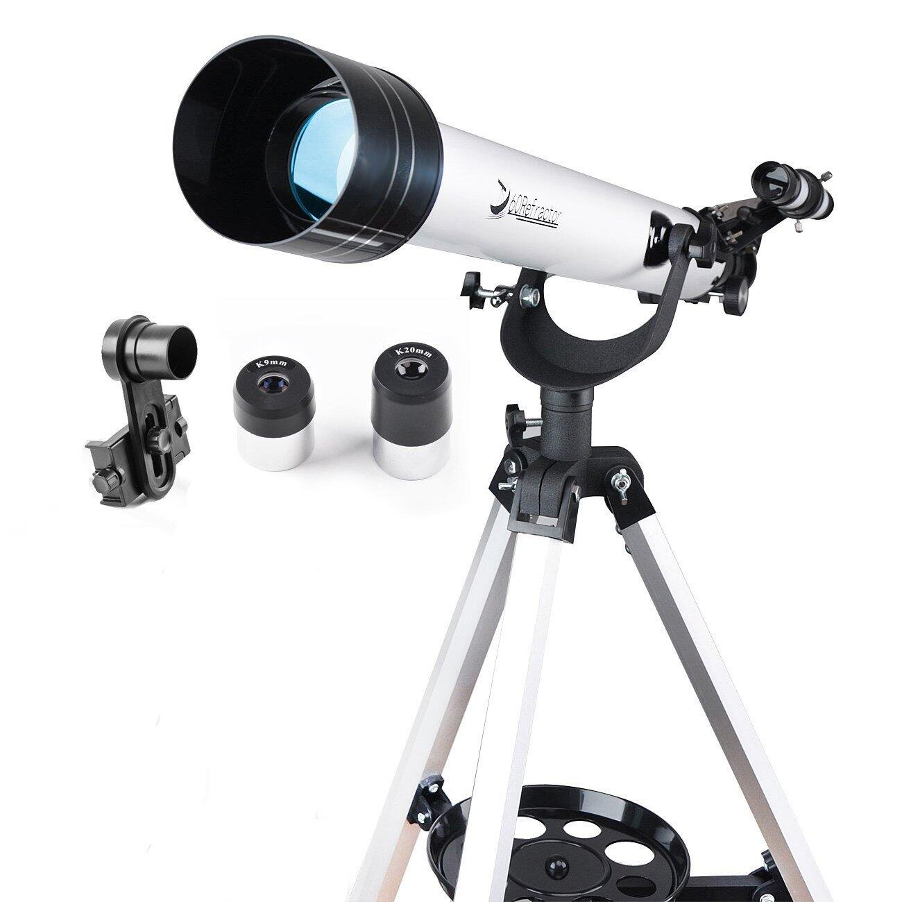Solomark Telescope, 60mm AZ Refractor Telescope with 10mm Smartphone Digiscoping Adapter - Observer 60mm AZ Refractor & Travel Scope Starter Kit