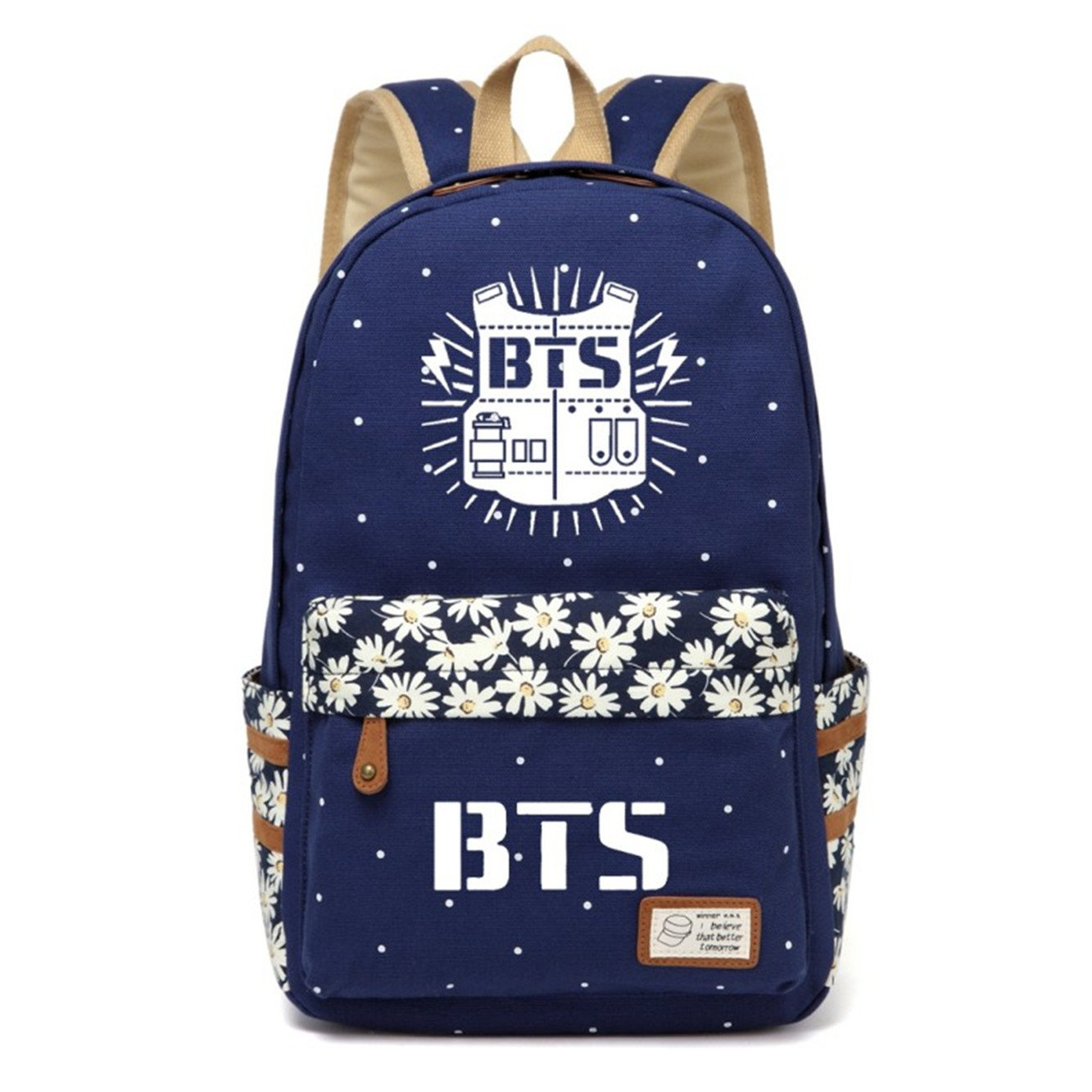 JUSTGOGO Korean Casual Backpack Daypack Laptop Bag College Bag Book Bag School Bag (Dark Blue 1)