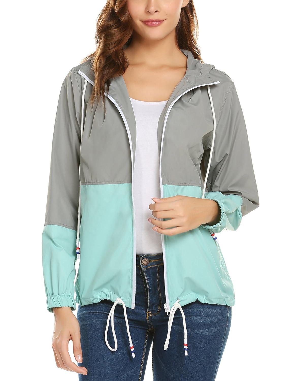 ZHENWEI Waterproof Lightweight Rain Jacket Active Outdoor Hooded Women's Rain Coat C00220