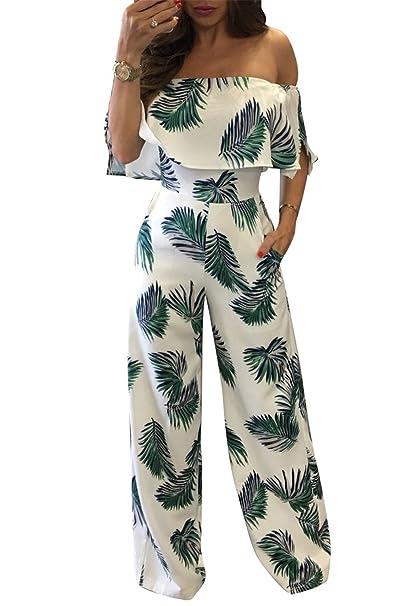 f06c13e3c56 Amazon.com  Women s Girls Summer Sexy Off Shoulder Wrapped Boho Maxi  Ruffled Printed Wide Leg Romper Jumpsuit Long Party Club Dress L  Clothing