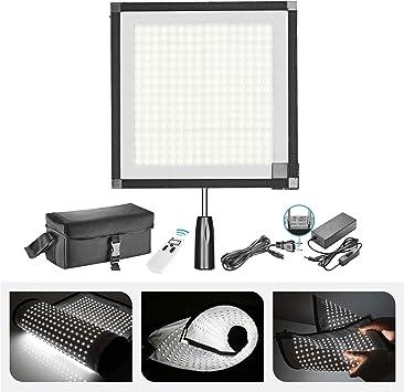 Neewer 折りたたみ式フレキシブルLEDライトパネルマット 256 LED照明パネル ファブリック リモコンとACアダプター付属 ハンドルグリップ、ディフューザークロス、キャリーバッグ付き 旅行映画製作、屋外写真用