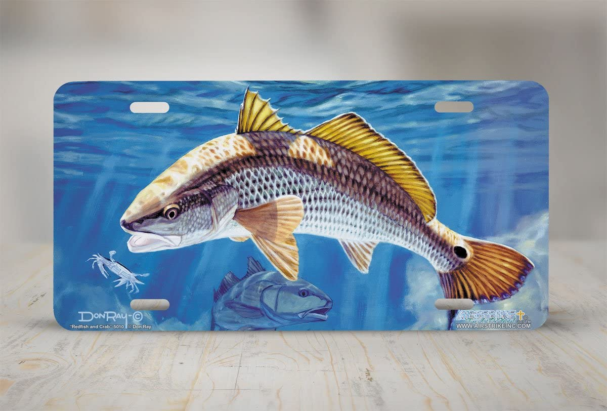 Airstrike Redfish and Crab Fishing License Plate Made in USA Made of Metal -5010