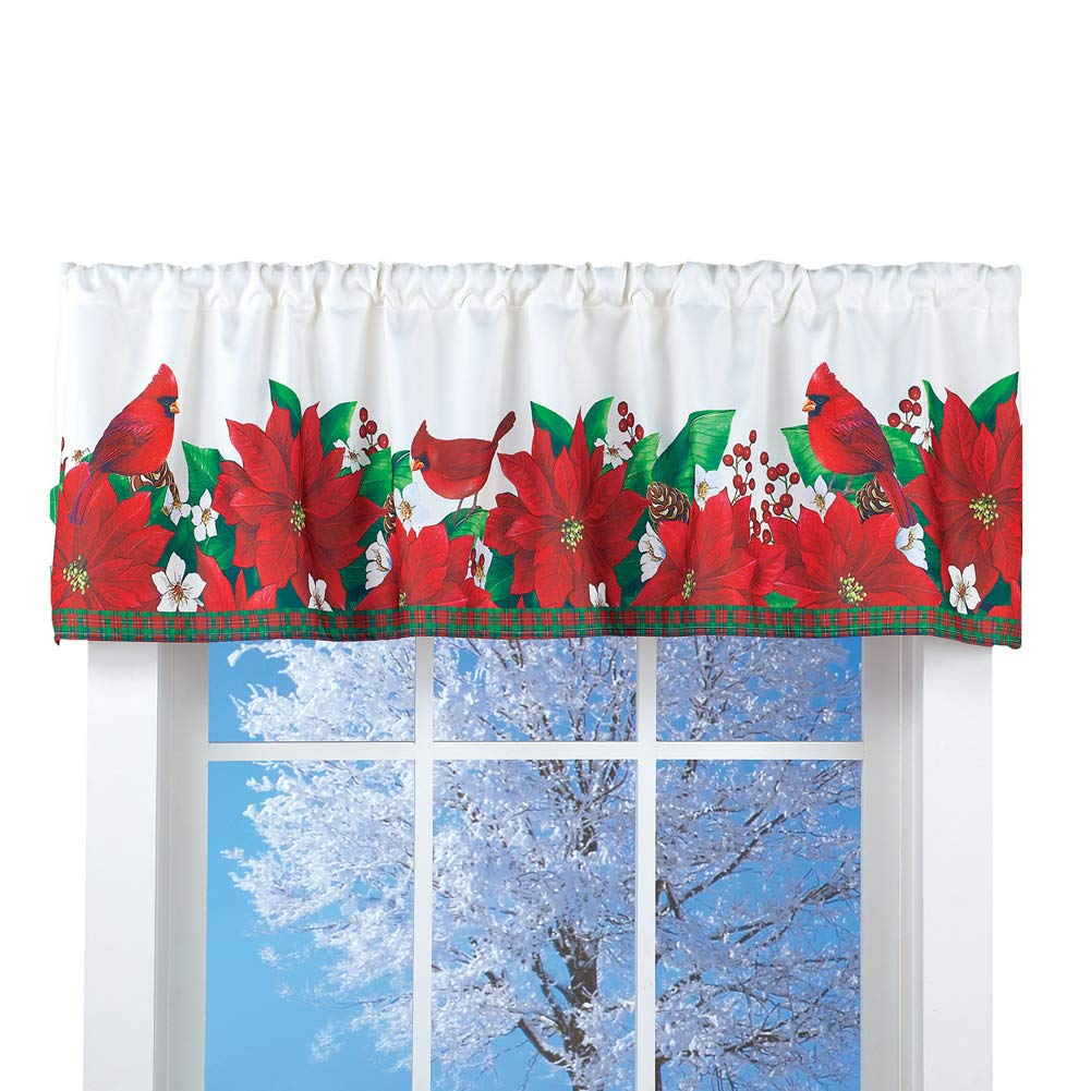 Collections Etc Red Poinsettia and Cardinal Printed Window Valance - Seasonal Home Decor