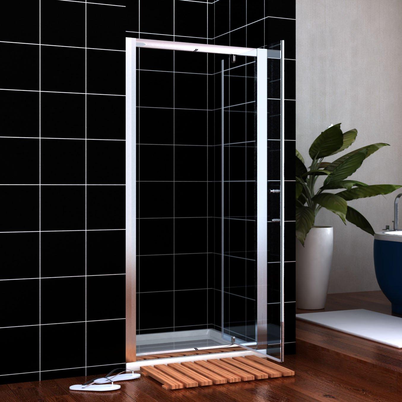 Mampara de ducha (76 cm), con puerta de vaivén, cristal a izquierda ...