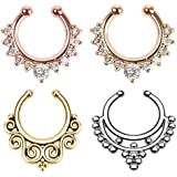 Fake nose ring,4Pcs Fake septum jewelry Nose Ring Hanger Clip On Clicker Crystal Piercing Non Piercing