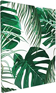 Depaga Canvas Wall Art Prints Green Tropical Palm Leaves Jungle Forest Framed Paintings Living Room Bathroom Kitchen Office Hanging Decor Artwork 12x16 Inch
