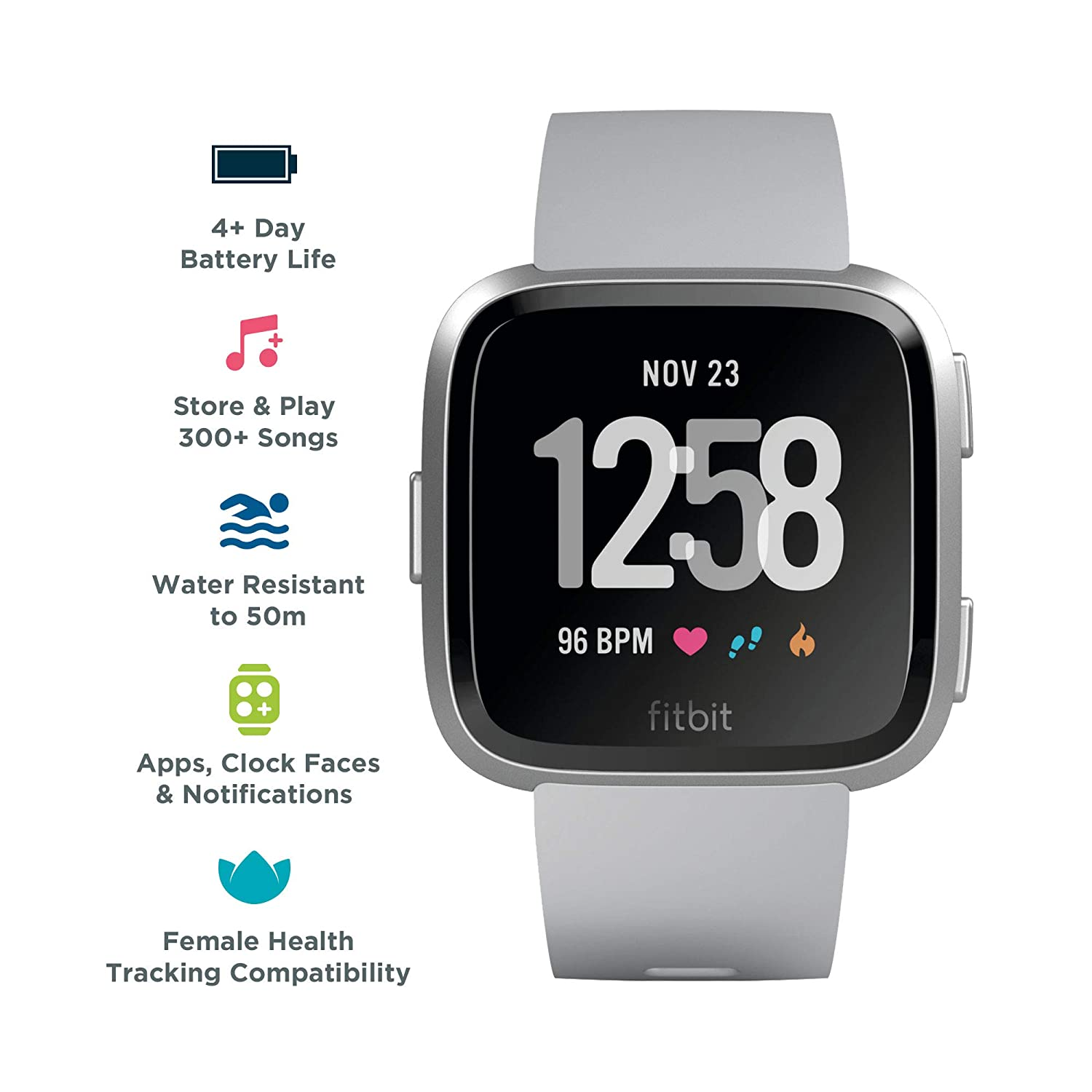 Amazon.com: Fitbit Versa Smart Watch, Gray/Silver Aluminium, One Size (S & L Bands Included): Cell Phones & Accessories