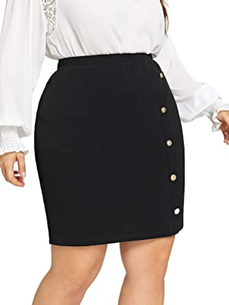 06f88bb5309e SheIn Women's Plus Size Button Front Stretchy Textured Detail Bodycon Short Pencil  Skirt at Amazon Women's Clothing store: