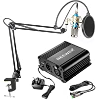 Neewer NW-800 Condenser Mic Kit - Silver Mic Black 48V Phantom Power Supply NW-35 Boom Scissor Arm Stand with Shock Mount and Pop Filter XLR Male to Female Cable for Home Recording