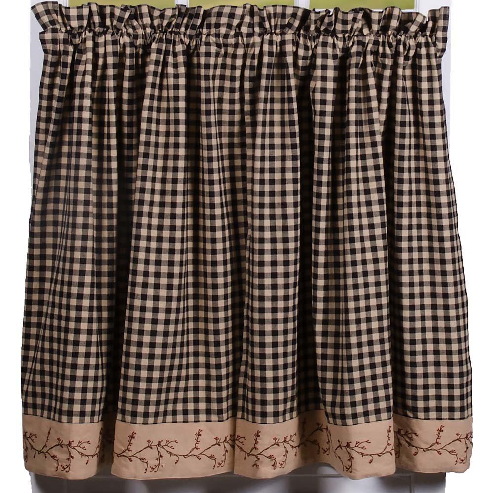 Primitive Home Decors Berry Vine Check Curtain Tiers - Black