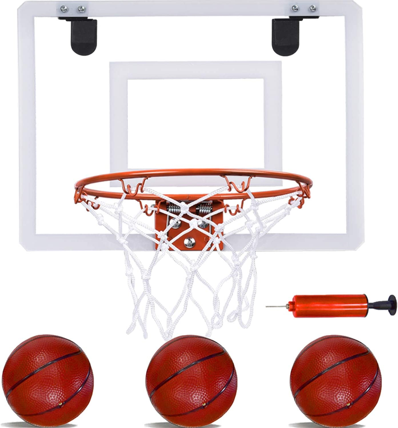 PikDos Indoor Mini Basketball Hoop for Kids and Adult 16 X 12 Inch Board Family Games for Home and Office Door Wall Mount Includes 3 Basketballs and Hand Pump with 1 Inflation Needle