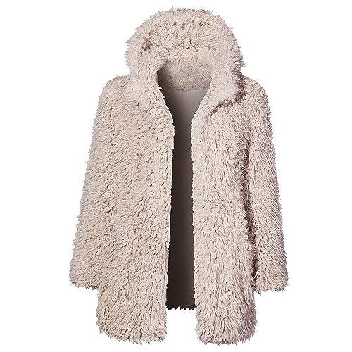 Hoodies Kolylong Damen Elegant Wollmantel mit Kapuze Herbst Winter Dicker  Wolljacke Lang Warm Fellmantel Faux Fur Mäntel Plüsch Parka Outwear  Trenchcoat ... e06a579d6e