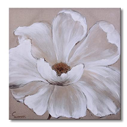 Sumeru white flowers canvas wall art paintings abstract elegant big flower artworks for home living bedroom office decoration1 piece 24x24 inch sumeru white flowers canvas wall art paintings abstract elegant big flower artworks for home living bedroom mig