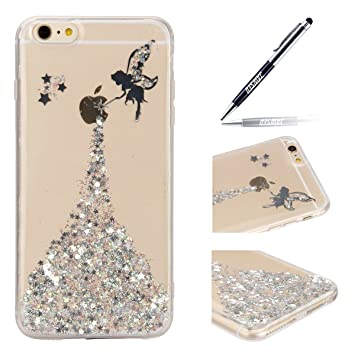 Funda iPhone 6S Plus, Carcasa iPhone 6 Plus, JAWSEU Apple iPhone 6S/6 Plus 5.5 Estuche Carcasa Caso Purpurina llamativa Ángel Creativa Diseño Lujo ...