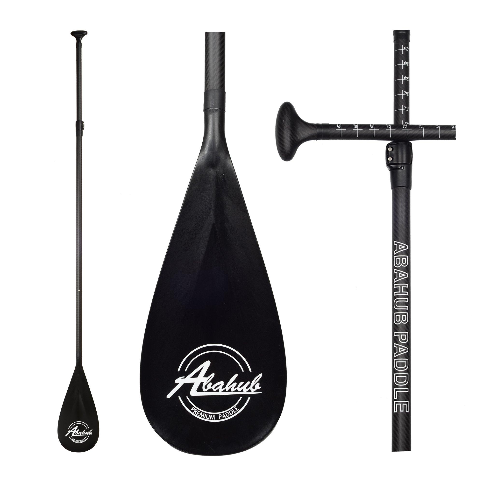 ABAHUB Carbon Fiber SUP Paddle 3-Piece Adjustable Carbon Shaft Black Plastic Blade + Bag