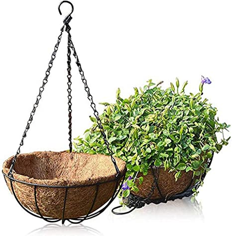 Amazon Com Hanging Planter Flower Basket Metal With Coco Coir Liner 2 Pack 8 Inch Round Wire Plant Growers Holder Flower Hanging Baskets Indoor Outdoor Décor For Home Garden Patio Kitchen Dining