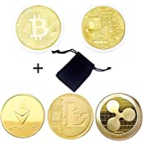 Losga 4 Pcs Toy Coins, Ethereum(ETH), Ripple(XRP), Litecoin(LTC), & Bitcoin Coin Come With a Black Cover Bag, Travel Commemorative Collectible Gift Coin Beautiful Art Collection Gift Physical Coin