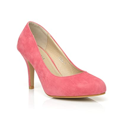 b558c6a24a Pearl Coral Faux Suede Stiletto High Heel Classic Court Shoes Size UK 3 EU  36
