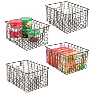 "mDesign Farmhouse Decor Metal Wire Food Storage Organizer Bin Basket with Handles - for Kitchen Cabinets, Pantry, Bathroom, Laundry Room, Closets, Garage - 12"" x 9"" x 6"" - 4 Pack - Bronze"
