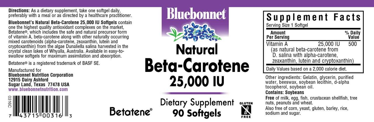 BLUEBONNET Nutrition Natural BETA-Carotene 25,000 IU