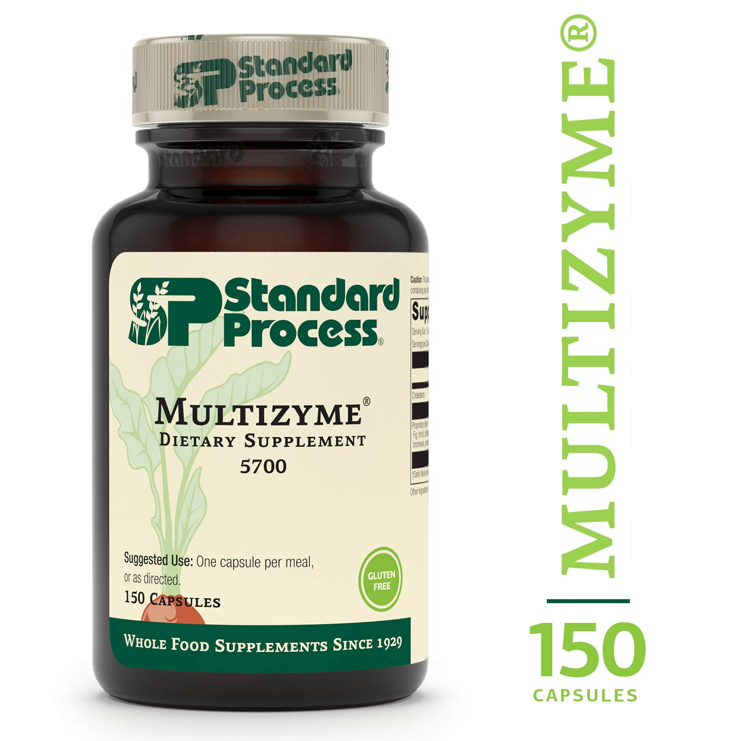 Standard Process - Multizyme - Digestion and Pancreatic Function Support Supplement, Provides Digestive Enzymes and Pancreatic Enzymes, Gluten Free - 150 Capsules by Standard Process