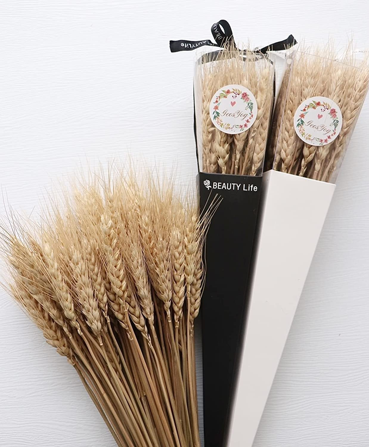 Dried Wheat Stalks, 100 Stems Natural Wheat Sheaves for Home Kitchen Wedding Decor, Wheat Bouquet Bundle Flower (11.5~12 in)