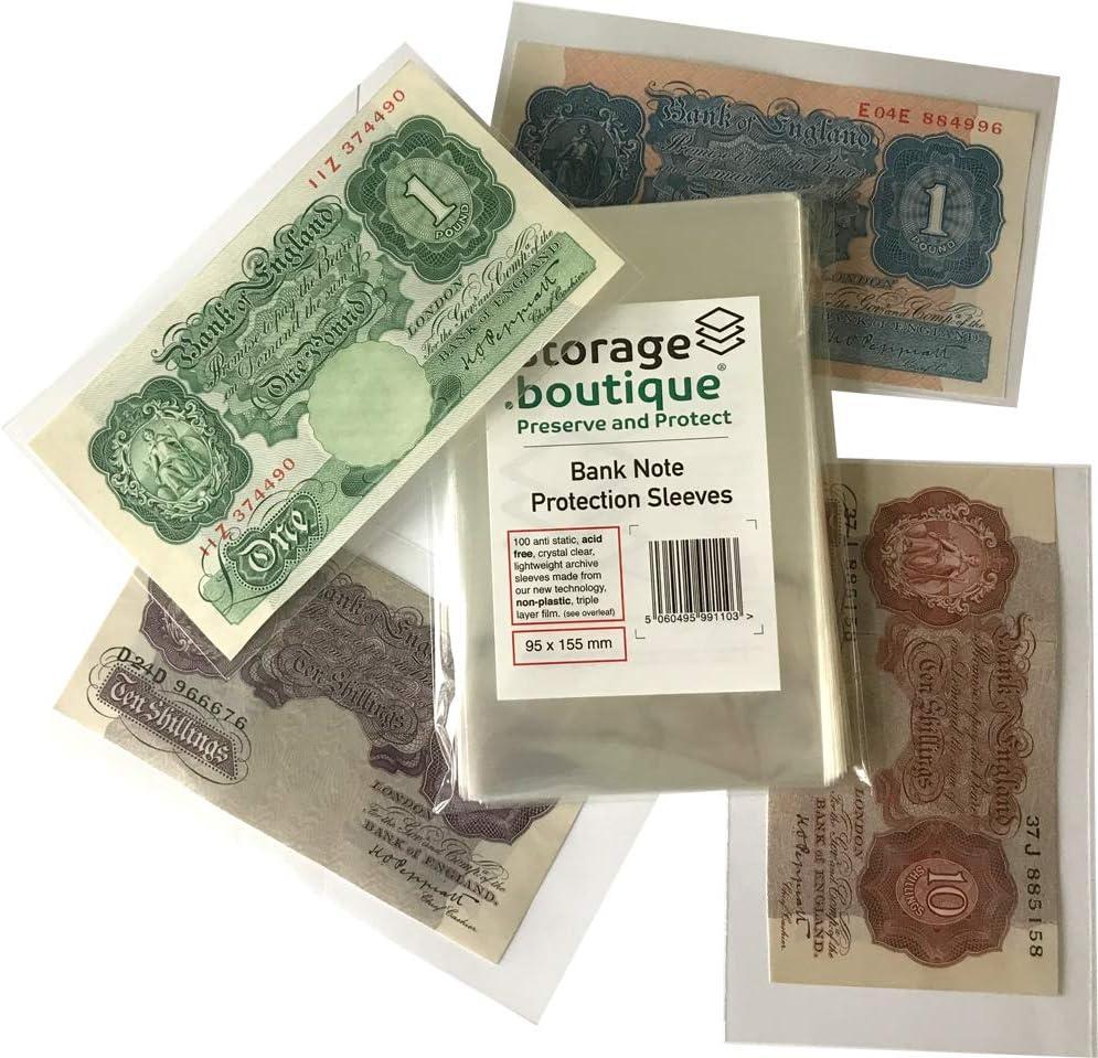 Storage.boutique Banknotenschutzh/üllen 100 St/ück kristallklar s/äurefrei 95 x 155 mm