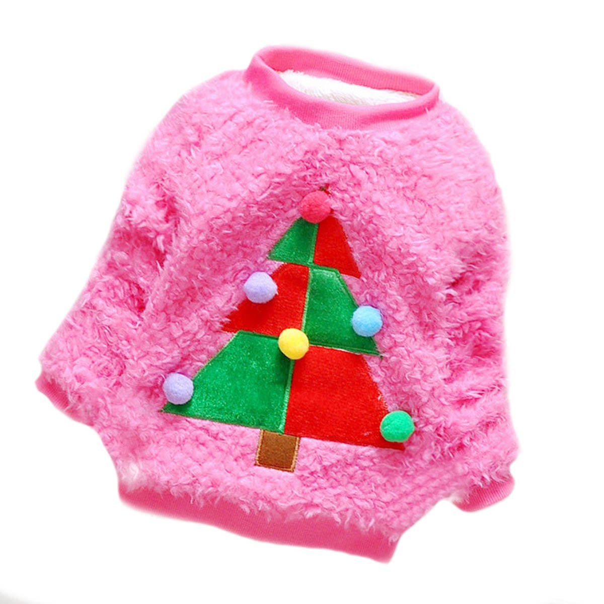 Babyicon Baby Girls Christmas Tree Deer Pullover Sweater Sweatshirt Candy Color Rose)