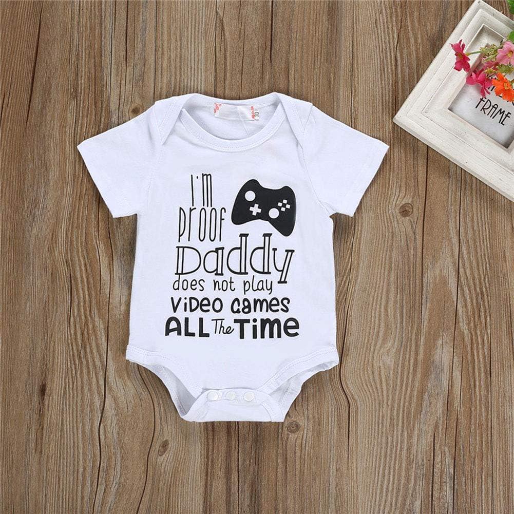 Cute Infant Newborn Baby Boy Girl Short Sleeve Romper Bodysuit+Hat Outfit Set